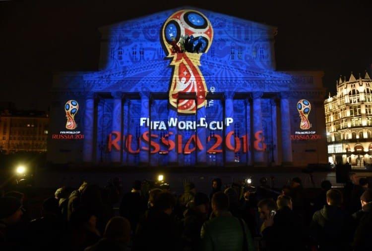 Logo der WM 2018 auf dem Bolschoi-Theater in Moskau (AFP 2018)