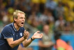 US Trainer Jürgen Klinsmann beim Spiel Belgien gegen die USA in Fonte Nova Arena in Salvador am 1.Juli 2014. AFP PHOTO/ FRANCISCO LEONG
