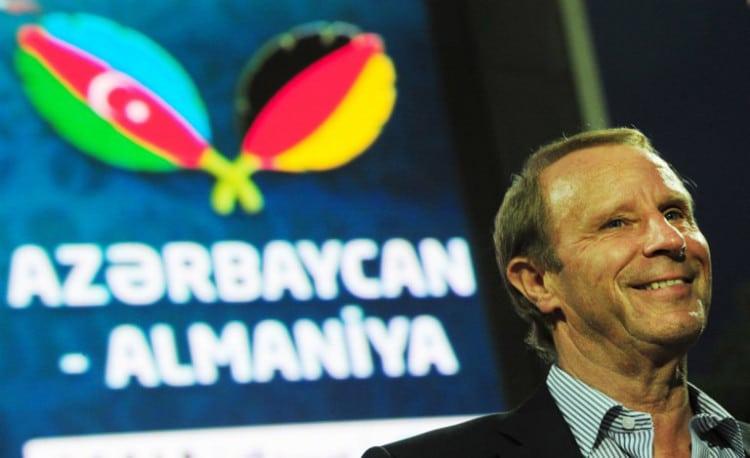 Berti Vogts am 7.Juni 2011 in Baku, Azerbaijan. AFP PHOTO / JOHANNES EISELE