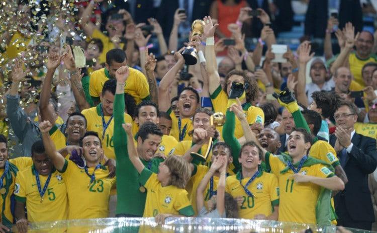Brasilien gewinnt den FIFA Confederations Cup 2013 und gewinnt im Finale gegen Spanien mit 3:0. AFP PHOTO / VANDERLEI ALMEIDA