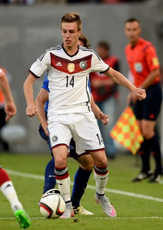 Patrick Herrmann im DFB Trikot beim Länderspiel heute gegen die USA. AFP PHOTO / PATRIK STOLLARZ
