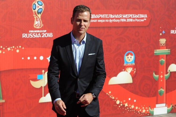 Teammanager Oliver Bierhoff bei der Auslosung zum World Cup 2018 im Konstantin Palast in Saint Petersburg am 25.Juli 2015. AFP PHOTO / OLGA MALTSEVA