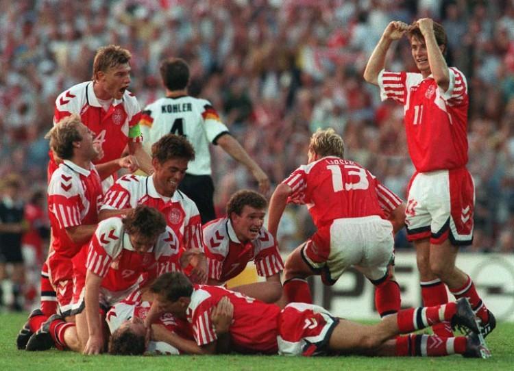Dänemark wird durch ein 2:0 gegen Deutschland am 26.Juni 1992 in Gothenburg Fußball-Europameister (Foto AFP)