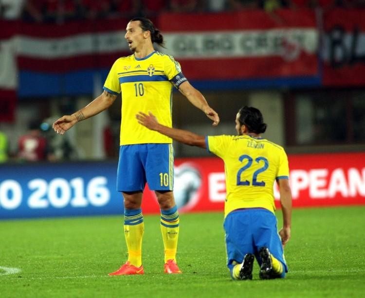 Zlatan Ibrahimovic gegen Österreich. AFP PHOTO / GUENTER R. ARTINGER