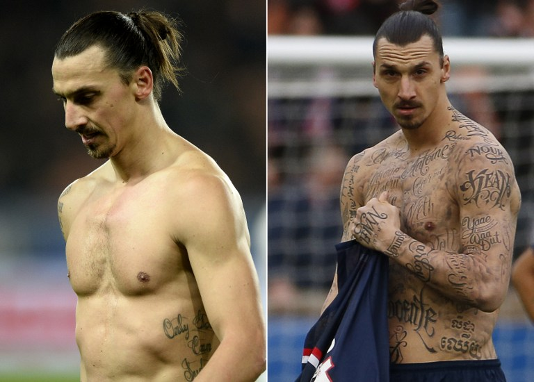TOPSHOTS This combo made on February 15, 2015 with two pictures shows Paris Saint-Germain's Swedish forward Zlatan Ibrahimovic tatoos on November 29, 2014 (L) and on February 14, 2015 during L1 football matches at the Parc des Princes stadium in Paris. AFP PHOTO