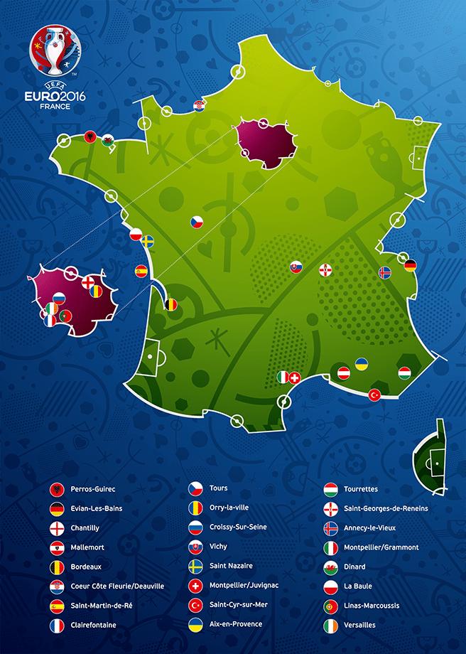 Die EM Quartiere der EM Teilnehmer (Copyright UEFA 2016)