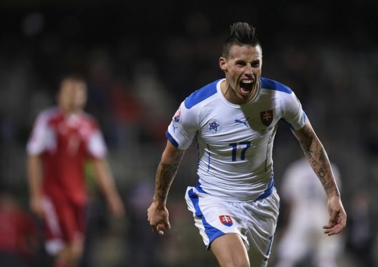 Marek Hamsik ist der Star der Slowakei - auch mit dabei bei der Endrunde der EM 2016 und vorher im Länderspiel gegen Deutschland. AFP PHOTO / JOHN THYS / AFP / JOHN THYS