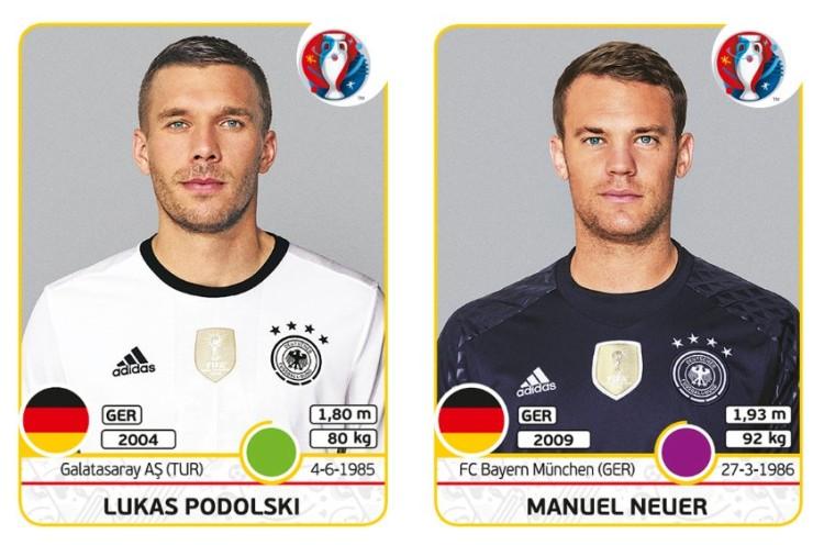 Lukas Podolski und Manuel Neuer als Panini-Sticker 2016 (Copyright Panini)