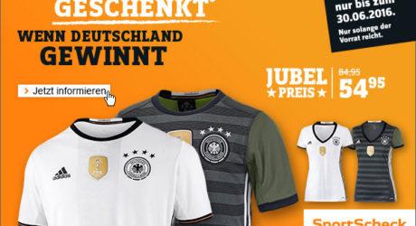 Das neue Deutschland DFB Trikot 2016 geschenkt bekommen… bei Sport Scheck