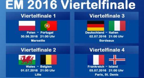 Fußball heute Abend * Wer spielt heute? * Spielfrei bei der EM 2016 * EM TV Spielplan für EM-Viertelfinale: Polen-Portugal