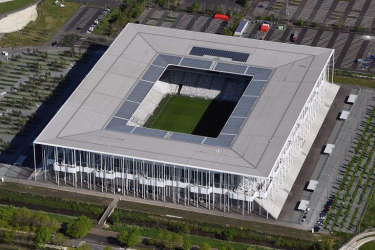 "Das EM-Fussballstadion von Bordeaux ""Stade de Bordeaux"" / AFP PHOTO / EUROLUFTBILD / Robert Grahn"