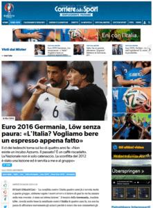 Pressespielegl zum EM-Viertelfinale Deutschland - Italien