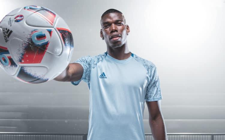 Paul Pogba und der neue EM-Ball Fracas für die EM-Endrunde (presse adidas)