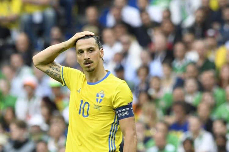 Schwedens Stürmer Zlatan Ibrahimovic macht kein gutes Spiel gegen Irland nur ein mageres 1:1 am Ende! / AFP PHOTO / JONATHAN NACKSTRAND