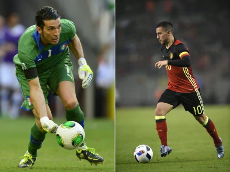 Das Duell zweier Stars heute Abend: Italiens Towart und Kapitän Gianluigi Buffon (L) und Belgiens Capitän Eden Hazard - heute Abend spielen sie gegeneinander in Lyon / AFP PHOTO / YURI CORTEZ AND JOHN THYS