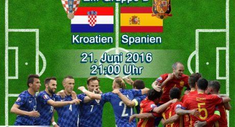 Fußball EM heute *** 2:1 Kroatien – Spanien ** EM Livestream und Liveticker * Aufstellungen