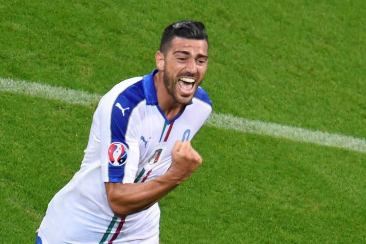 Italiens Pelle feiert sein 2:0 gegen Belgien! / AFP PHOTO / JEAN-PHILIPPE KSIAZEK