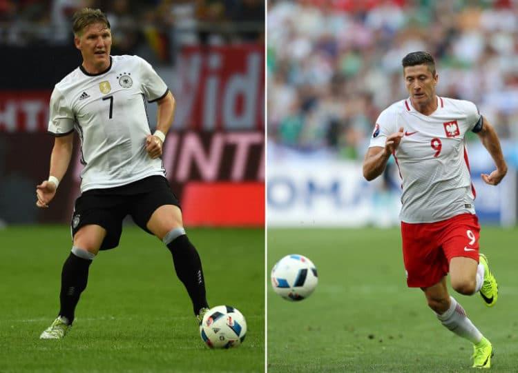 Die beiden Kapitäne Bastian Schweinsteiger und Robert Lewandowski - am 16.Juni trifft man sich im Vorrundenspiel in Paris. / AFP PHOTO / Patrik STOLLARZ AND Valery HACHE