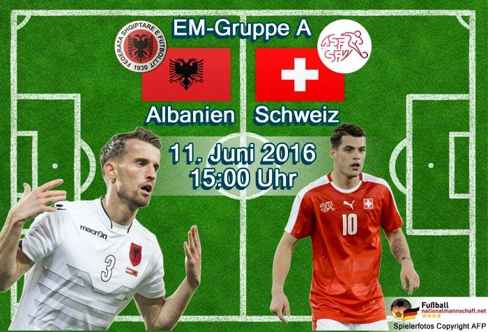 EM 2016 Gruppe A: Albanien - Schweiz, Samstag 15.00 Uhr