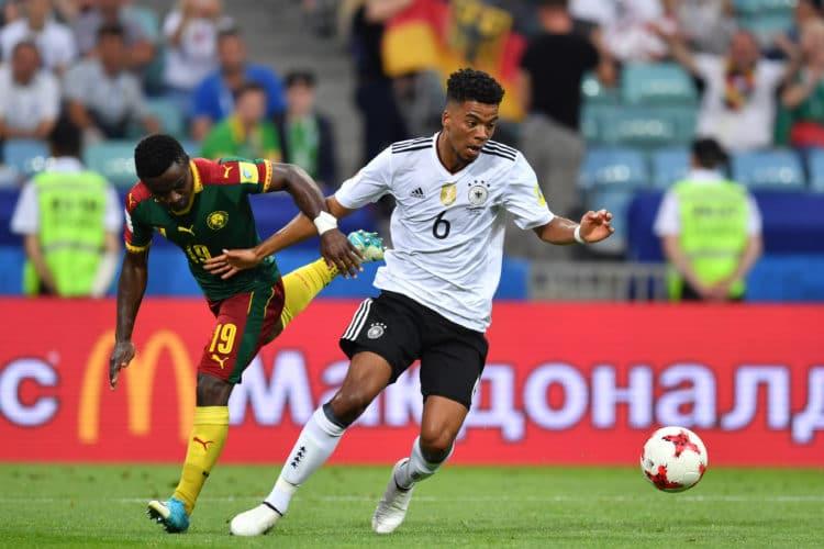 Benjamin Henrichs bei seinem ersten Einsatz beim Confed-Cup. Gegen Kamerun konnte die deutsche Mannschaft mit 3:1 gewinnen, Henrichs wurde in der 2. Halbzeit eingewechselt und bereitete das 3:1 von Timo Werner vor. / AFP PHOTO / Yuri CORTEZ