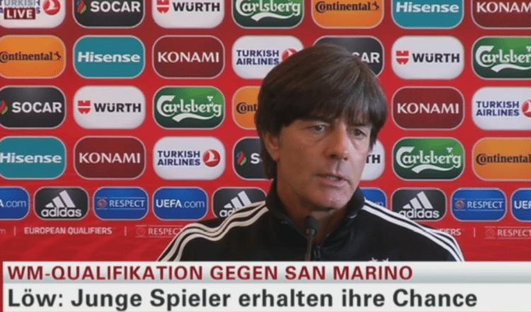 Bundestrainer Jogi Löw auf der heutigen Pressekonferenz auf n-tv.