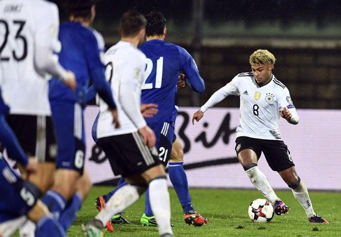 Man of the Match - Serge Gnabry erzielt in seinem 1.Länderspiel gleich drei Tore. AFP Foto