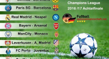 Wer spielt gegen wen? Das ist das Champions-League-Achtelfinale