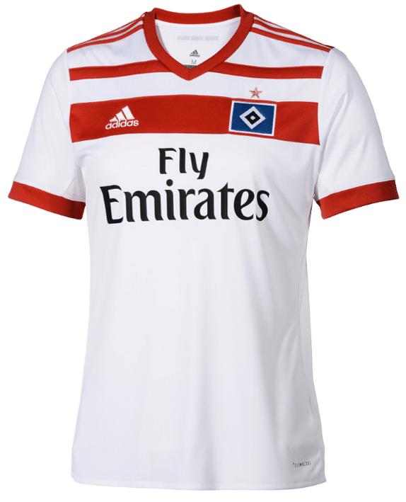 Das aktuelle Home Trikot 2017/2018 des Hamburger SV von adidas mit dem Trikotsponsor Fly Emirates