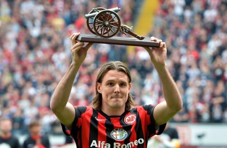 Bundesliga-Torkanone: Eintracht Frankfurt Stürmer Alexander Meier am 23.Mai 2015. Er erzielte 19 Tore in 26 Einsätzen. AFP PHOTO / TORSTEN SILZ
