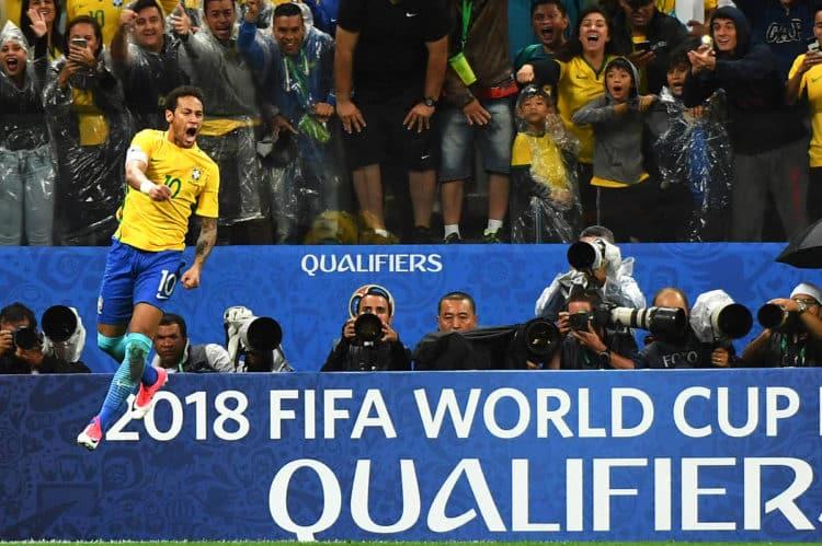 Brasilien feiert durch ein 3:0 gegen Paraguay die WM 2018 Qualifikation am 28.März 2017. / AFP PHOTO / NELSON ALMEIDA