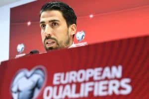 Sami Khedira auf der PK vor dem Spiel Aserbaidschan - Deutschland. PHOTO AFP.