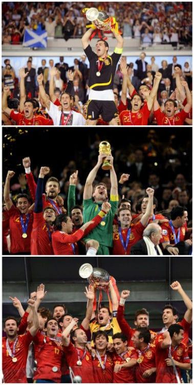 Der Spanier Iker Casillas (C) stemmt den Pokal der Euro 2008, den Weltcup-Pokal am 11.July 2010 in Johannesburg und den Pokal der Euro 2012 in Kiev in die Höhe. AFP PHOTO / OLIVER LANG/JAVIER SORIANO/FRANCK FIFE