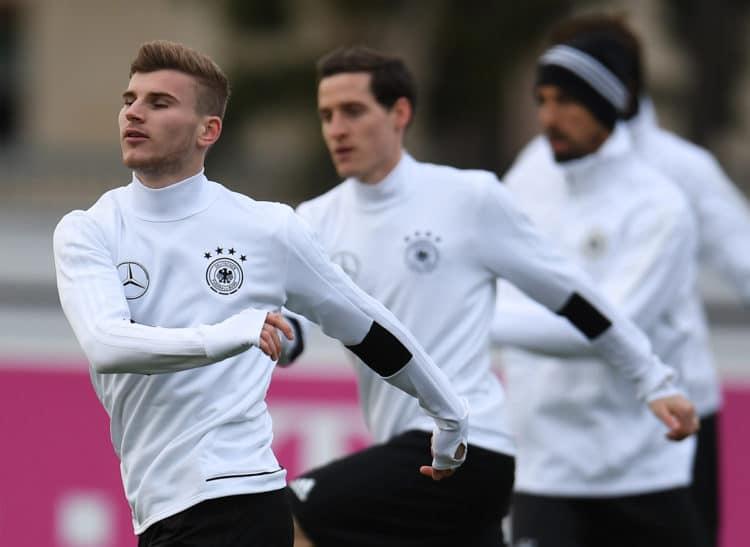 Timo Werner im Training bei der A-Nationalmannschaft. PATRIK STOLLARZ / AFP