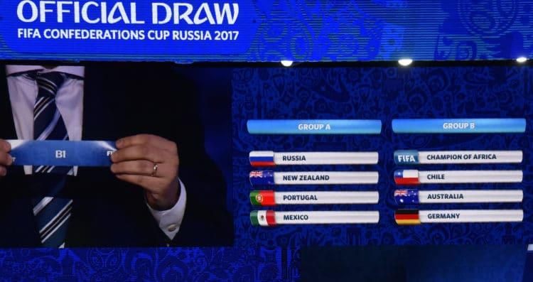 Die beiden Gruppen für den Confed Cup. Die FIFA sitzt im Moment noch auf gut zwei Dritteln ihrer Tickets. / AFP PHOTO / Alexander NEMENOV