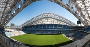 Hier wird die deutsche Nationalmannschaft am 19.06.2017 auf Australien treffen: Das Olympiastadion in Sotschi. Photo: AFP.