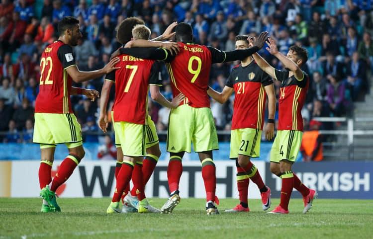 Belgiens Spieler feiern den Sieg gegen Estland am 9.Juni 2017. / AFP PHOTO / Raul Mee