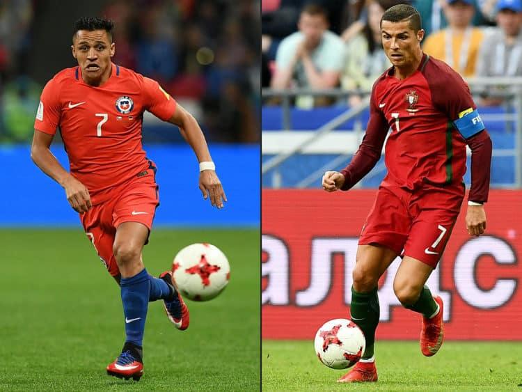 Das Halbfinale des Confed Cups hat es in sich: Chile's Stürmer Alexis Sanchez (L) gegen Portugal's Superstar Cristiano Ronaldo / AFP PHOTO / FRANCK FIFE