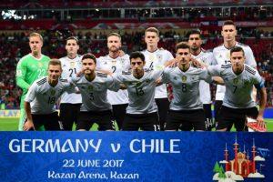 Die Startaufstellung von Deutschland gegen Chile am 22.06.2017. Das Perspektivteam schlug sich Tapfer gegen starke Chilenen und konnte ihnen schließlich ein 1:1 abringen. Photo: AFP.