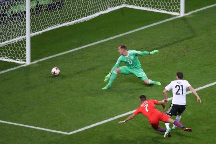 Das 1:0 für Chile! Ter Stegen hat keine Chance nach 5 Minuten! Foto AFP