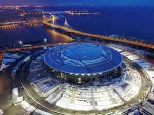 Das Krestowsky-Stadion in St. Petersburg fasst knapp 70.000 Zuschauer und wird somit das größte Stadion des Confed-Cups und das zweitgrößte der Weltmeisterschaft 2018 sein. Photo: AFP.