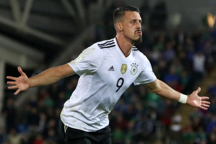 Angreifer Sandro Wagner feiert sein 2:0 im FIFA World Cup 2018 qualification football Spiel imWindsor Park in Belfast am 5.Oktober 2017. Paul FAITH / AFP