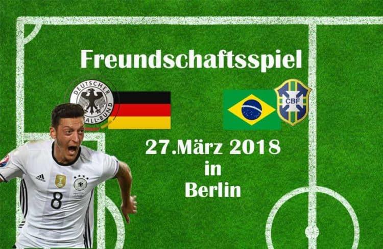 Am 27.März 2018 spielt Brasilien wieder gegen Deutschland!