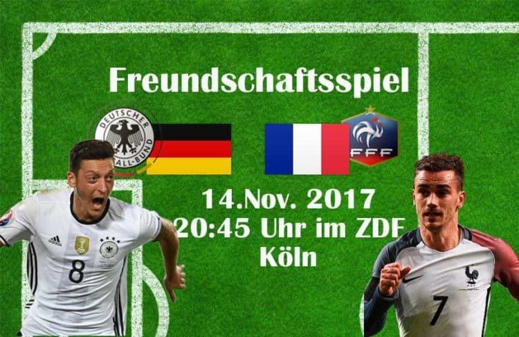 Das nächste Länderspiel gegen Frankreich findet am 14.November 2017 in Köln statt.