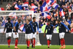 Frankreich verliert mit 2:3 gegen Kolumbien am 23.März 2018. / AFP PHOTO / FRANCK FIFE