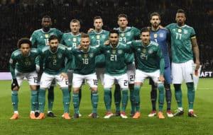 Die deutsche Startaufstellung von Deutschland gegen Brasilien am 27.März 2018 in Berlin im neuen DFB Away Trikot (Foto AFP)
