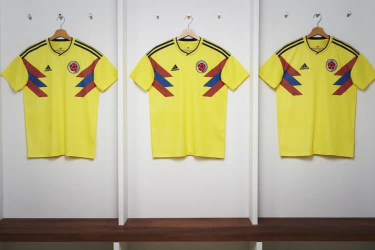Kolumbiens neues Adidas WM 2018 Heimtrikot in gelb. Photo: Adidas Presse.
