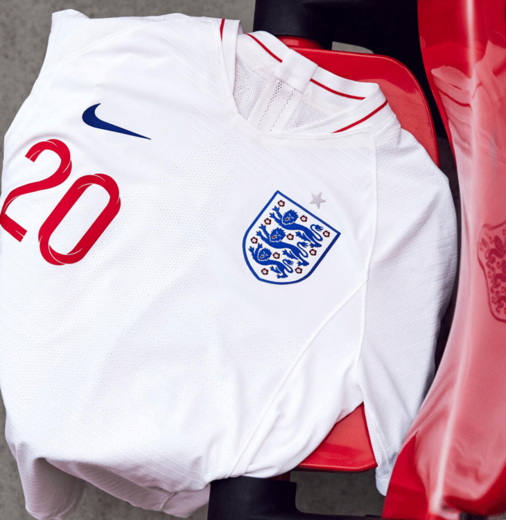 Das neue England Heimtrikot 2018 von Nike in weiß. Photo: Nike Presse.