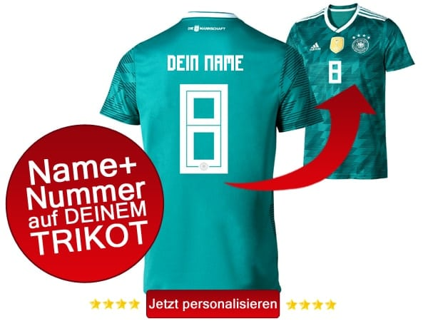 Das neue DFB Trikot mit Beflockung in grün!
