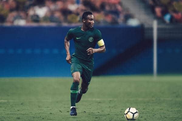 Das Nike Auswärtstrikot für die WM 2018 von Nigeria in der Photomontage. Photo: Nike.