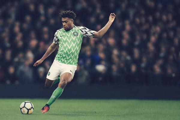 Das Nike WM 2018 Heimtrikot von Nigeria in der Photomontage. Photo: Nike.